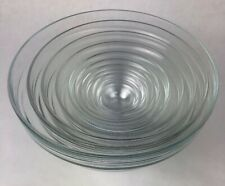 """Duralex 10 Piece Set of Glass Nesting Bowls Made in France Largest Bowl 10"""" Rare"""