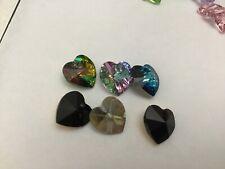 6 genuine Swarovski Crystal 10mm heart pendant mix jet Bermuda blue vitrail  AB