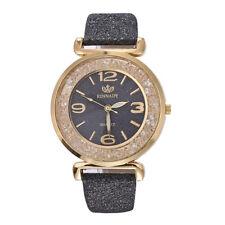 Fashion Women Design Crystal Leather Band Watches Alloy Analog Quartz Wristwatch