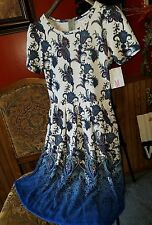 New M Lularoe Amelia Dress Medium Blue White Ombre Paisley Floral Dipped RARE!!
