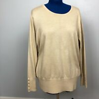JM Collection Women's Size 3X Acrylic Crewneck Sparkly Brown Pullover Sweater