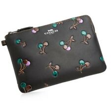 NEW Coach black with cherries Leather Cosmetic Case 24100