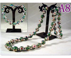 Handmade cloisonne beautiful floral beaded Necklace+Bracelet Bangle (Green)