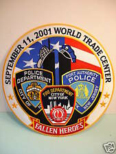 "Large 5"" PATCH Fallen Heroes 9-11 Fire Police Dept. NEW"
