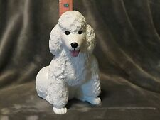 White Poodle Plaster Dog Statue Hand Cast And Painted By T.C. Schoch
