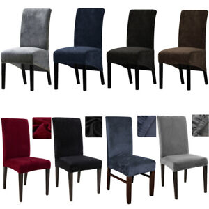Velvet Dining Chairs Covers Slipcover Stretch High Back Chair Large / Mediu UK