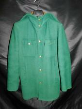 Vintage Woolrich Size 36 S Green Wool Coat Brown Plaid Lined Snap Front Hood Men