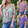 Women V Neck Floral Tee T-shirt Short Sleeve Cold Shouler Blouse Loose Tunic Top