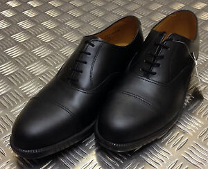 Genuine British Army Black Leather Mens Service Shoes w Toe Caps All Sizes - NEW