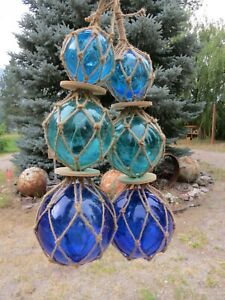 "TWO  3""4""5""  BLUES TRIO CURIO GLASS FLOATS BALLS BUOYS BOUYS NET"