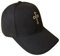 Black Christian Cross Religious Baseball Cap Caps Hat God Jesus Gold Stitch OL