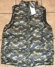 Mens REVERSIBLE BUBBLE VEST~SMALL~NWT~Full ZIP~Green Camo PUFFER Jacket~HUNTING