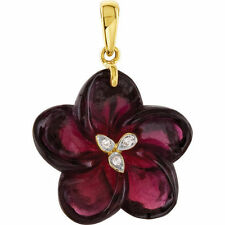 Genuine Brazilian Garnet Carved & Diamonds Flower Pendant 14K. Yellow Solid Gold