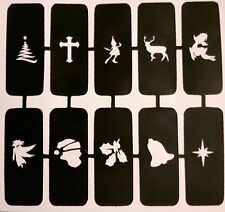 50 x Christmas nail stencils for airbrush Santa tree bell reindeer angel (mixed)