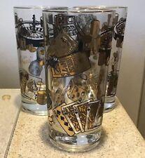 Vintage Barware Glass tumblers/3 Las Vegas dice poker chips gold black Souvenir