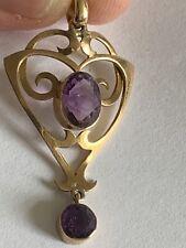 Fine Art Nouveau 9ct Gold & Amethyst Set Pendant