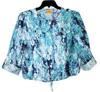 Ruby Rd Semi Sheer Blouse Sz 10 Cropped Rolltab Sleeve Drawstring Blue Women Top