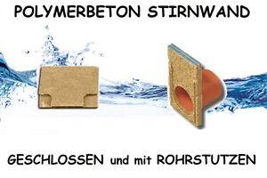 Polymerbeton Stirnwand für Entwässerungrinne Höhen ab 6,3 bis 25 cm Breite 13 cm