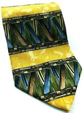 Cocktail Collection Tequila Abstract Geometric Blue Gold Novelty Silk Tie