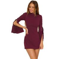 V Zip Langarm Herbst Mini Bodycon Party Kleid Clubwear Abendkleid Tunika BC236