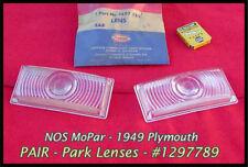 NOS 1949 Plymouth Park Light Lenses Pair Deluxe Suburban Convertible Mopar Coupe