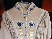 3b West JACKET South Western Fringe Beaded Bones Women's Large Tan Leather NEW
