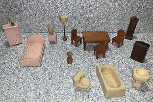 Wooden Strombecker Dollhouse Furniture Dining Set, Bathroom, Bedroom Set, Lamps