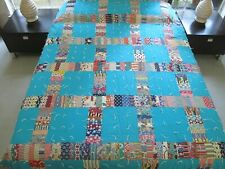 """BEAUTIFUL Vintage Machine Pieced Feed Sack DOMINO & SQUARE Tied Quilt 96"""" x 78"""""""