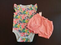 NWT Baby Gap Girl's 2Pc Bodysuit & Bubble Shorts 12-18M 18-24M MSRP$30 New