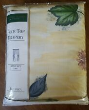 """New CROSCILL BOTANICA YELLOW BLUE PURPLE FLORAL Lined Pole Top Drapery Pair 84"""""""