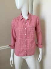 GAP Fitted Boyfriend NEW! Red Plaid Gingham Cotton Button Front Shirt Sz S Petit