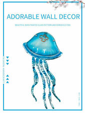 Metal Jellyfish Wall Decor with Glass for Home Garden Decoration
