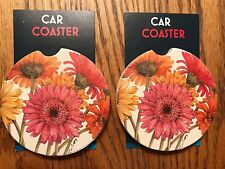 """PAIR OF NEW """"GERBER DAISY"""" STYLE ABSORBENT STONE CAR COASTERS for the cupholder"""