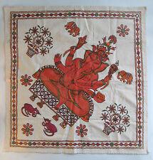 Ganesh Elephant Head Chain Stitch Embroidered Fabric Hindu God Ganesa Wall Art