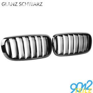 KÜHLERGRILL NIEREN DOPPELSTEG GLANZ SCHWARZ für BMW F15//F16 X5 X6 2014-2017 #D