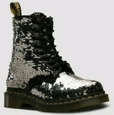 NEW!! Dr Martens 1460 Pascal Womens Black/Silver Sequin Boots Size UK 5