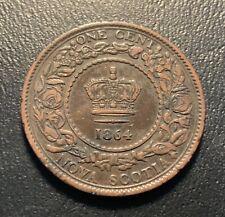 1864 Nova Scotia one cent - nice details