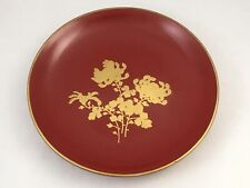 Red Japanese Lacquerware Plate Gold Chrysanthemum on Red 6.75