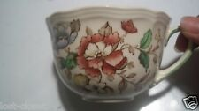 Royal Doulton Monmouth Floral Flat Tea Coffee Cup D 6195 Ivory Pink Green cLOSeT