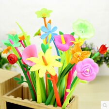 Free Shipping Flower Pen 12 Pieces Black Ink Pen Student Kid Prize Birthday Gift