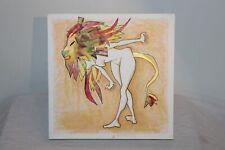 Original Outsider Art Painting Nude Woman Lion Head Signed Stefania Sicurelli