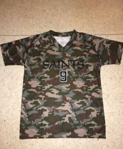 NWT NEW ORLEANS SAINTS BOYS DREW BREES #9 GREEN CAMO camouflage JERSEY SHIRT