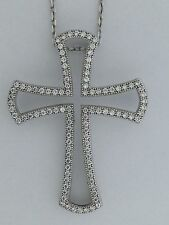 Cross Necklace Cubic Zirconia Stones Sterling Silver