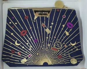 Estee Lauder Blue/ Gold Make-up / Cosmetic Bag 20x5x17cm  Limited Edition NEW