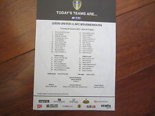 2014-15  CHAMPIONSHIP   LEEDS UNITED  v AFC BOURNEMOUTH OFFICIAL    TEAM SHEET