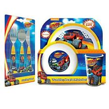 New Blaze & The Monster Machines 6 Piece Tableware Set - Cutlery Plate Bowl Cup