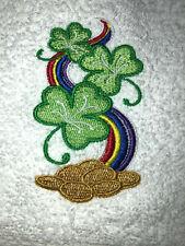 Embroidered Bathroom Hand Towel Rainbow Shamrocks Gold St Patrick's Day Theme