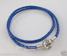 "BLUE LEATHER Genuine PANDORA Silver Barrel DOUBLE BRACELET 13.8""/35cm Small NEW"