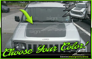 Arctic Style Hood Stripe Decal Blackout #1 - Fits Jeep Liberty 2008 - 2013