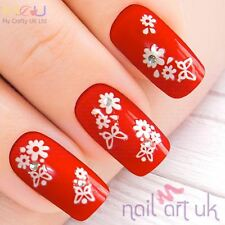 White Butterfly and Flower with Rhinestone Nail Stickers, Decals, Art 01.02.037